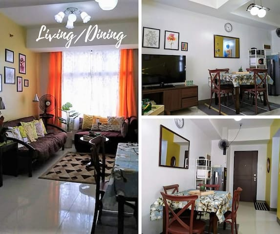 LIVING AND DINING  Dining area with 4-seater dining table. 2-door fridge, microwave oven, toaster, coffee maker and bread toaster. A big rectangular mirror in the dining area for an added home experience!