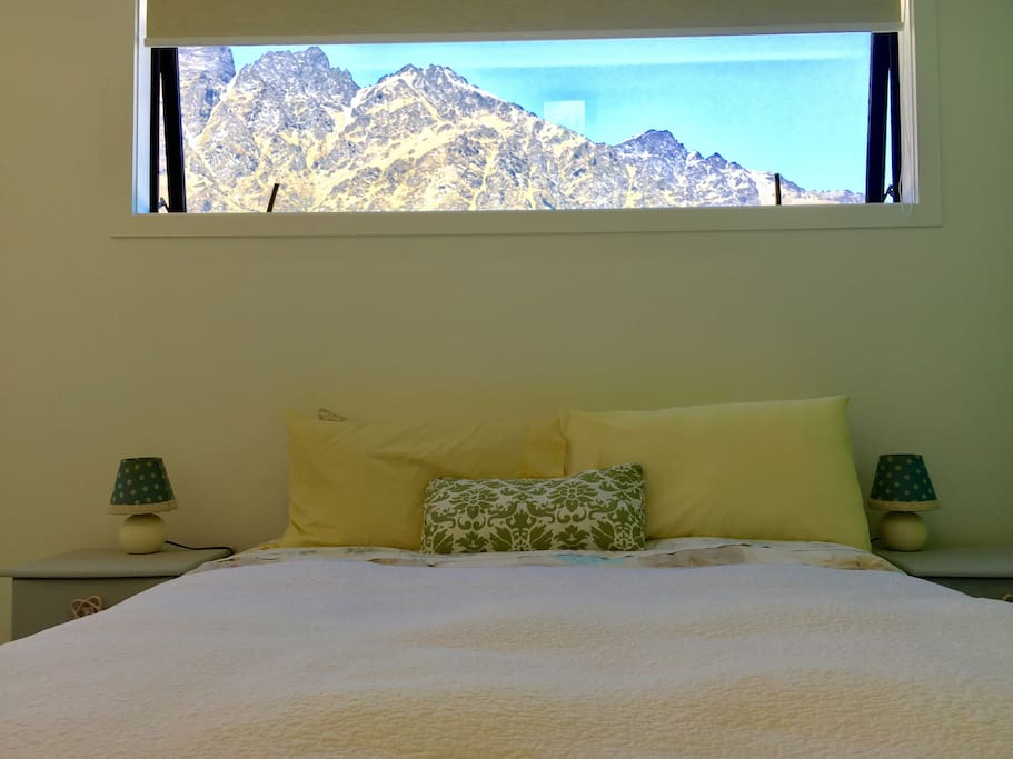 Super comfy double bed with view of The Remarkables