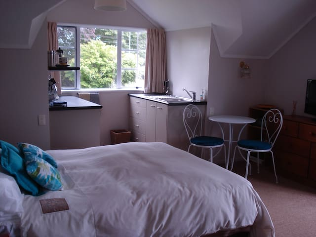 Guest bedroom with mini kitchenette