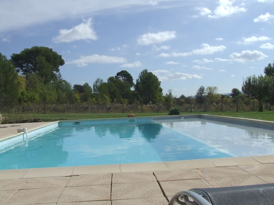 Grande piscine privée avec plage immergée