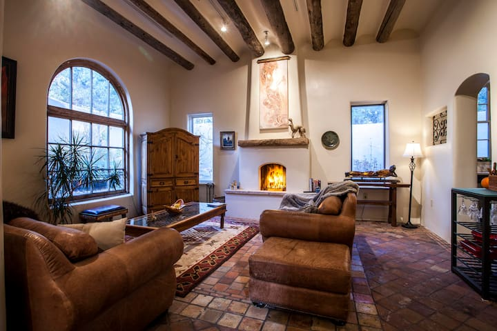 Living room with real log fire