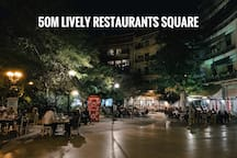 very popular and lively square with local restaurants, cafes, bars