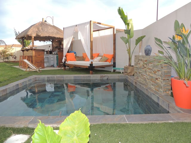 Villa tendance Bali,Piscine,20 min des plages