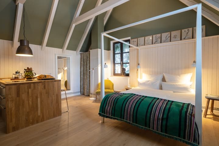 Design and Cozyness at the Lake: the Forest Suite.