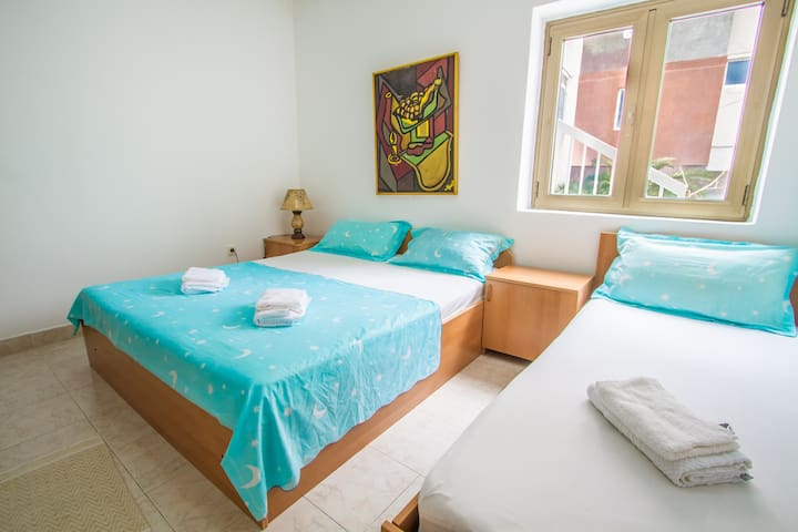 This studio apartment offers a double & single bed.