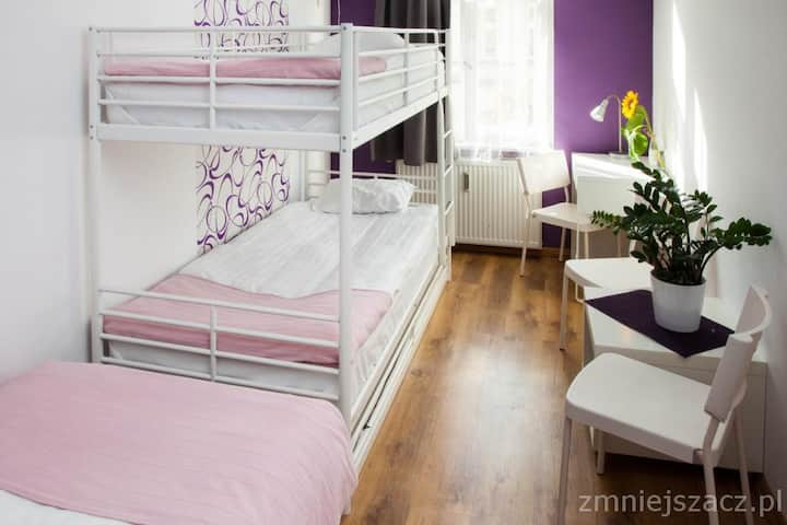 Bed in 3-bed dorm, shared bathroom