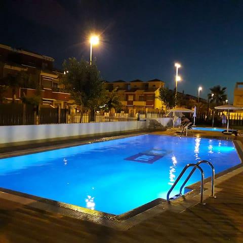 Lightened large pool.