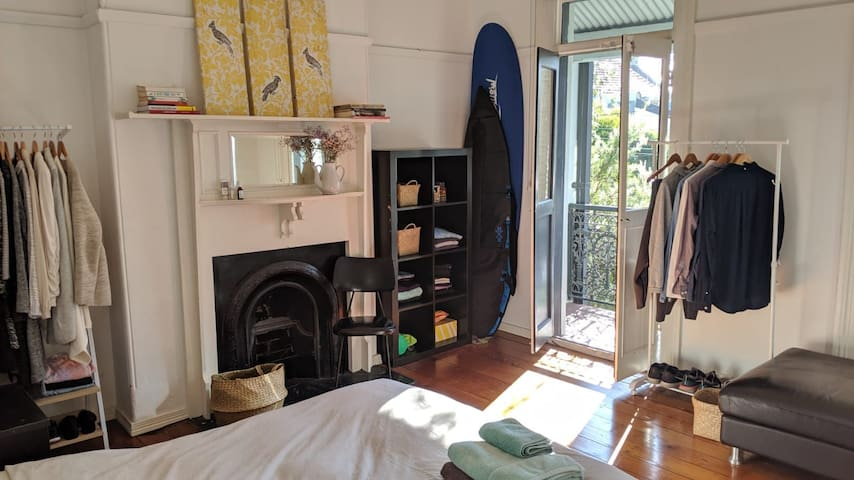Sunny master bedroom in funky Newtown