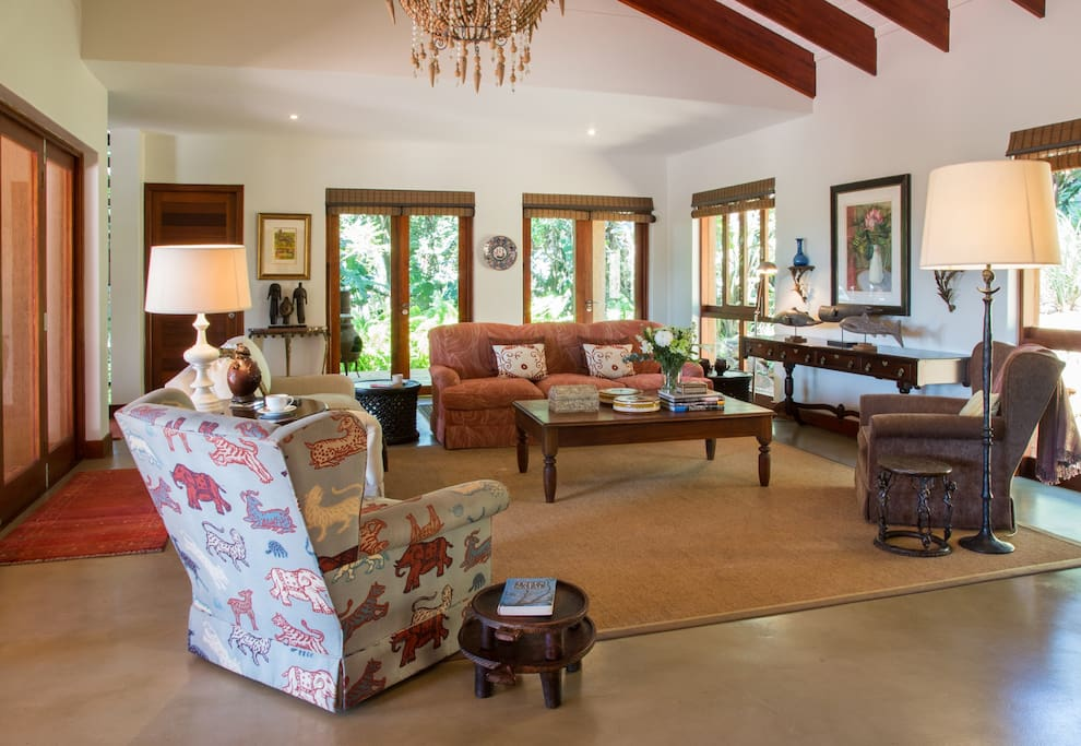 The large and beautifully appointed open-plan living area with original artworks