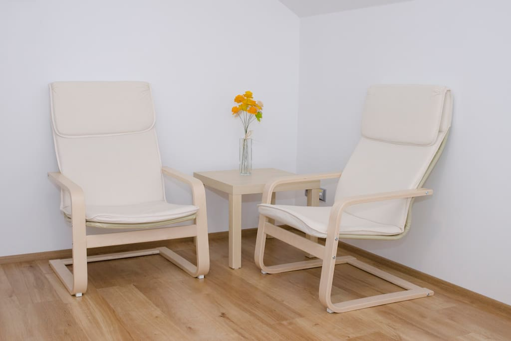 Pokoj pro hosty / Guest room with two chairs and a conference table