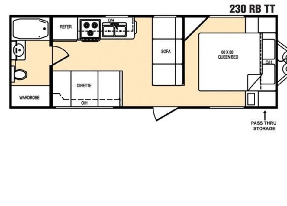 Interior layout,  bathroom, wardrobe, kitchen.  There is 2 feet space around queen sized bed.