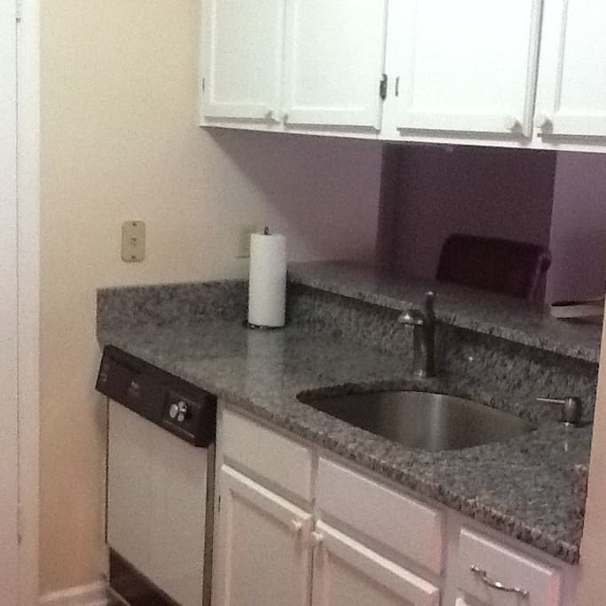 Kitchen full size stove dishwasher all pots pans etc