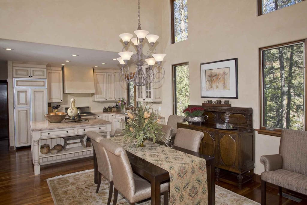 Beautiful dining room leads into open kitchen.