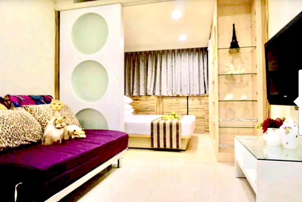 第一間雙人房&第一間客廳房                                                             first bedroom & first livingroom  一間張標準雙人床在房間,一張法國進口的專業高級海棉可鎖沙發床,請設計師設計三片原木鑲噴紗玻璃造型拉牆,白天可打開空氣流通陽光充足,晚上睡覺時我們有請設計師為我們房源設計活動式原木鑲噴紗玻璃造型拉牆拉出可鎖自由完全隔成獨立的第2房。(空間可完全靈活使用)