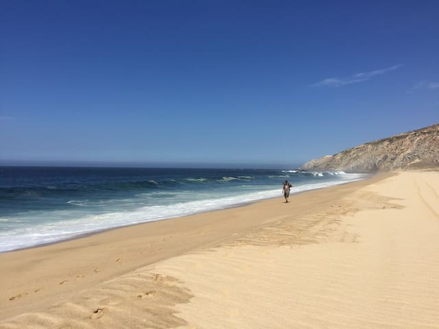 The beach is 15 minutes walking or 5 minutes by free shuttle.  *Do not swim on the Pacific side beaches*