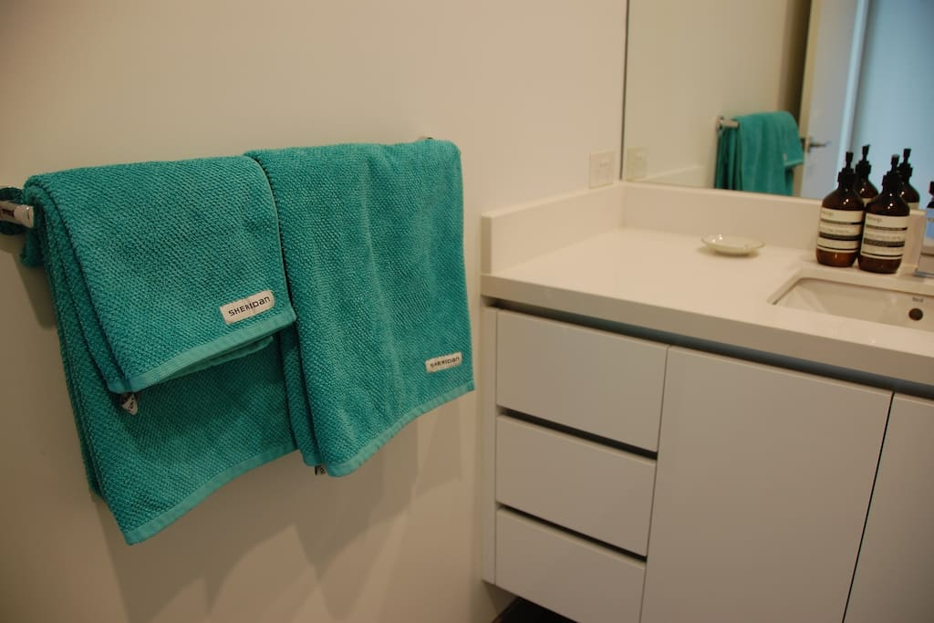 Private bathroom with quality towels.