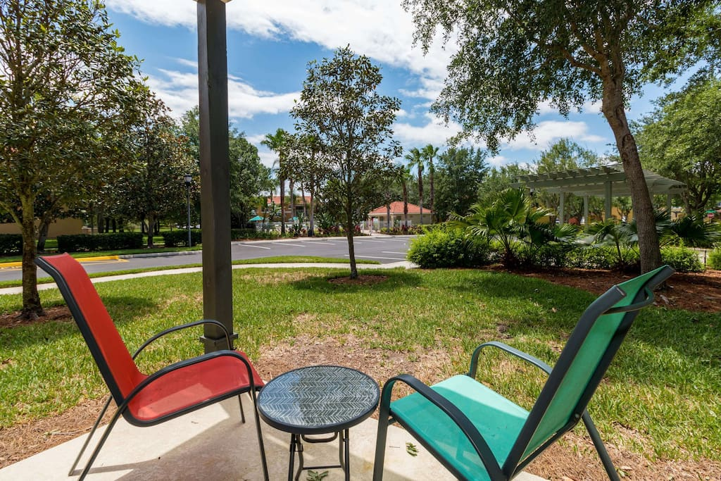 Sit back with a refreshing beverage and soak in the Florida sun on this secluded patio.