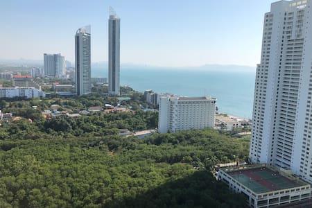 芭提雅中天海滩LUMPINI一卧室海景公寓,sea view,安静舒适,无边泳池趴