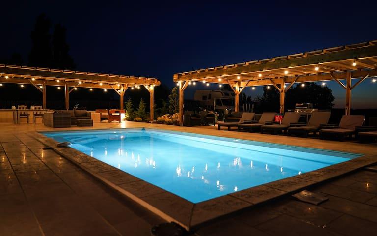 Pool area night