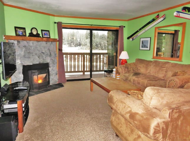 Living room includes large flat screen TV on a swivel stand