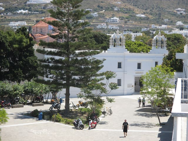 Church of 100 Doors (Panagia Ekatontapiliani) , directly opposite the hotel.  To see videos of the rooms, please try you tube hotel parko channel.