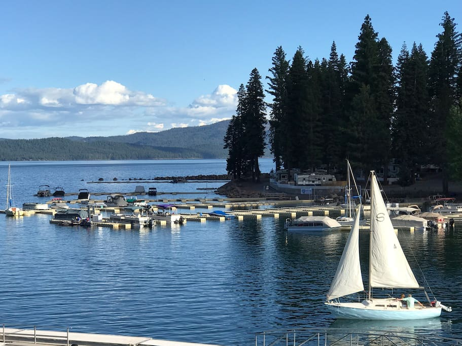 View of Big Cove and Lake Almanor from the deck.
