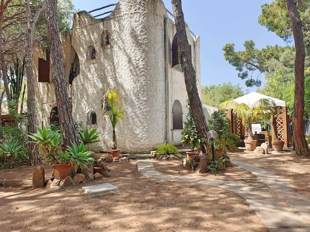 House near the sandy beach with private garden