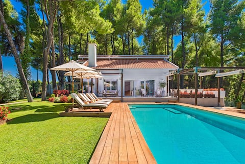 The white villa at sani halkidiki- pool & sea view