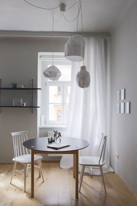LIVING ROOM+BEDROOM:dining table from hay, designer lamps from an austrian designer