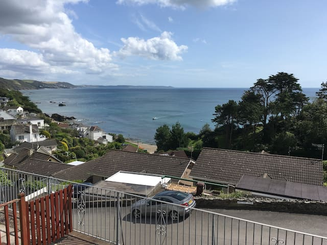 Stunning view from large deck area, down to Plaidy Beach and around to Rame Head