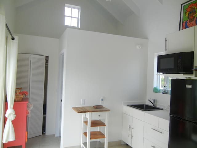 Kitchen with full sized fridge (no stove) BBQ on pool deck.  Closet and door to full bath behind.