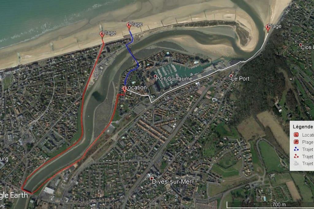 Trajet bleu par la passerelle pour accéder à la plage de cabourg.