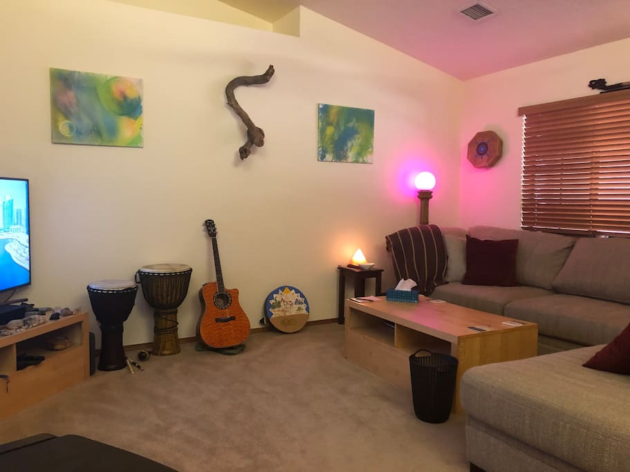 Instruments in the living room are there for you to play and enjoy.