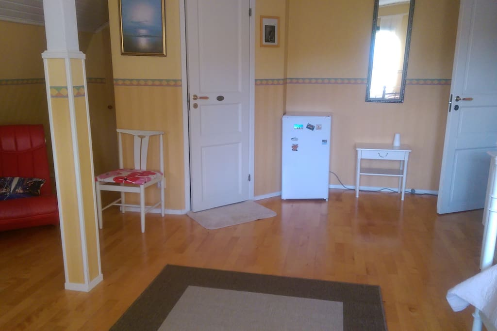 Yleisnäkymää huoneesta; suihkun ovi ja jääkaappi vieressä.