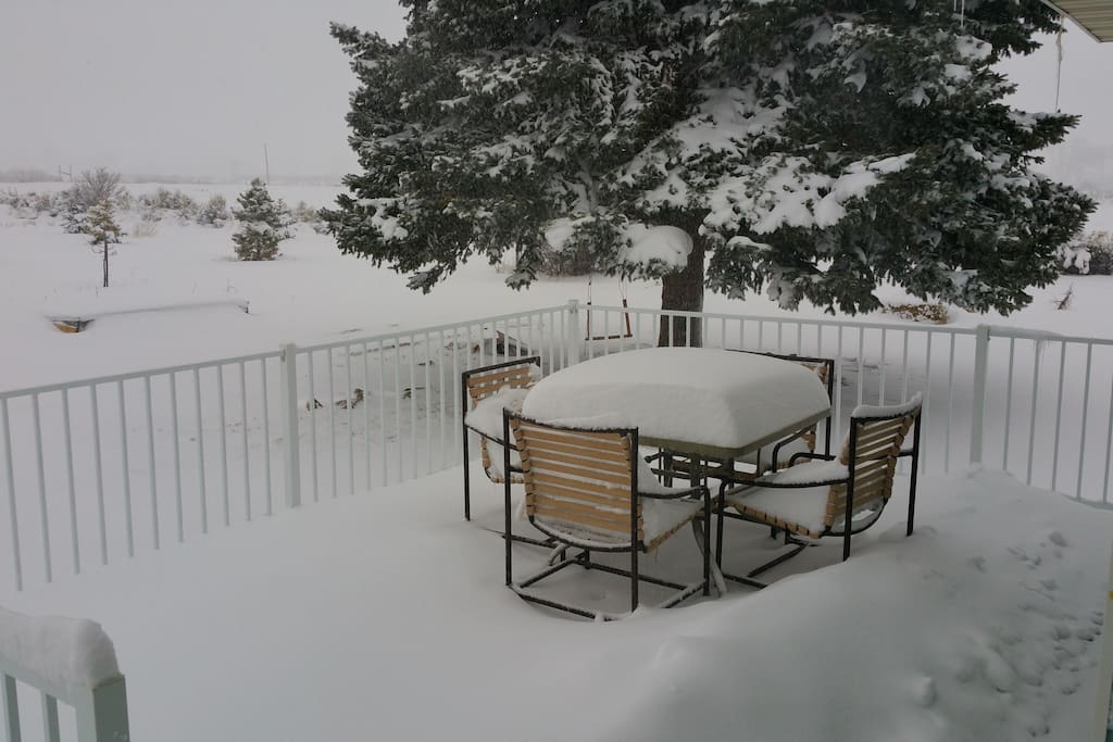 Snow on our front deck!