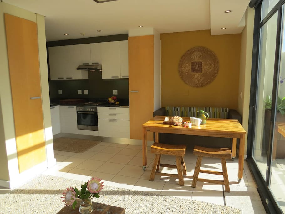 Kitchen and dining area from lounge