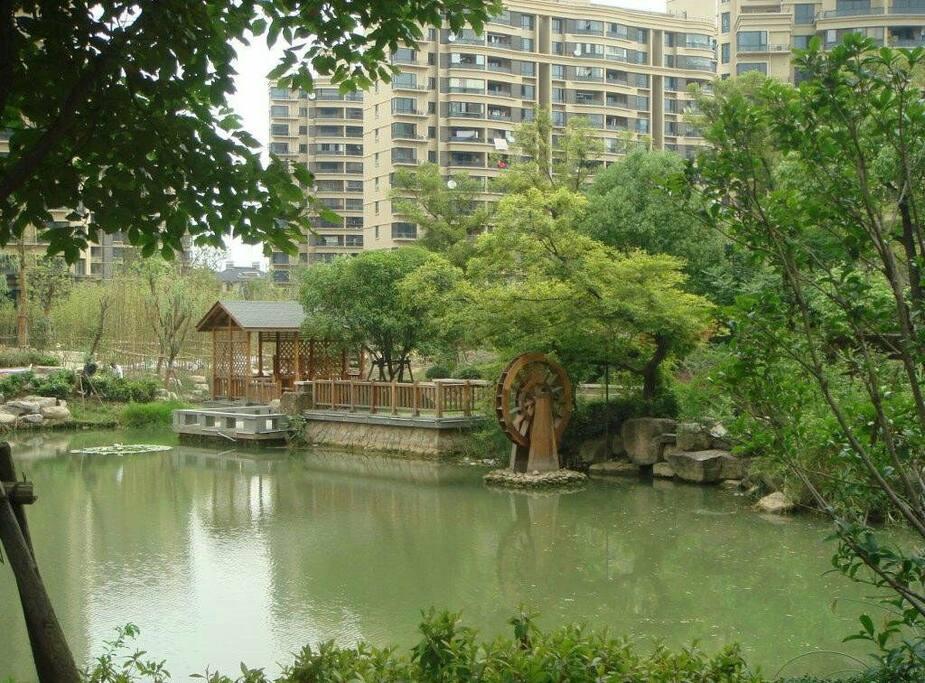 小区里亭台水榭都是风景