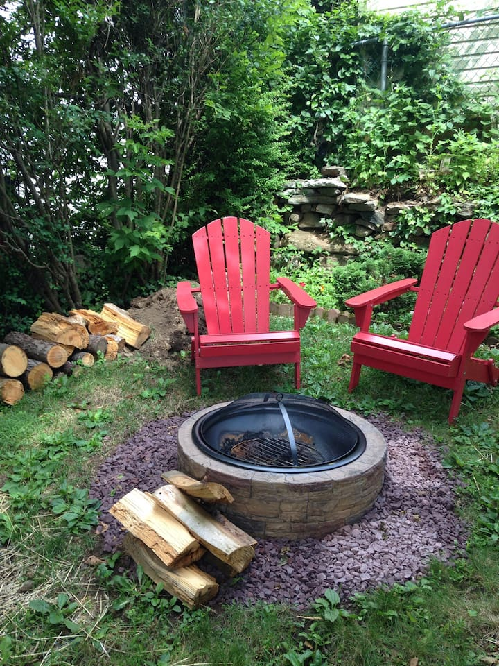 Relax and unwind after a busy day by the fire-pit.