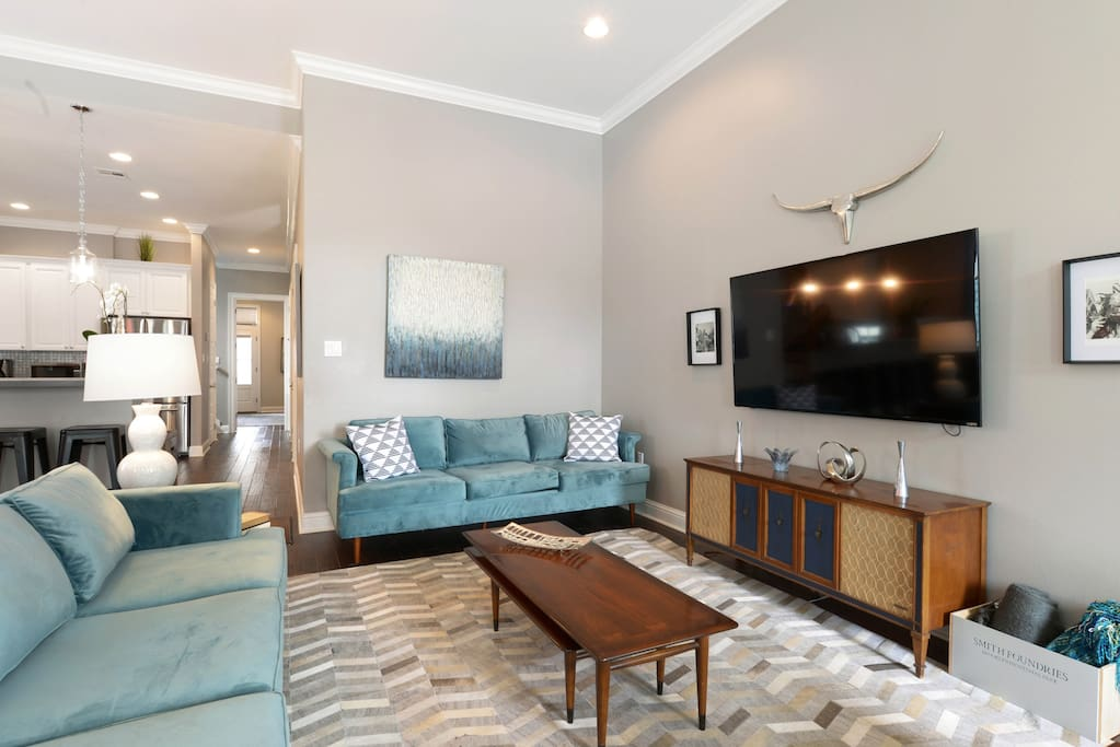 Our open-concept living area is the perfect place to come together as a group.