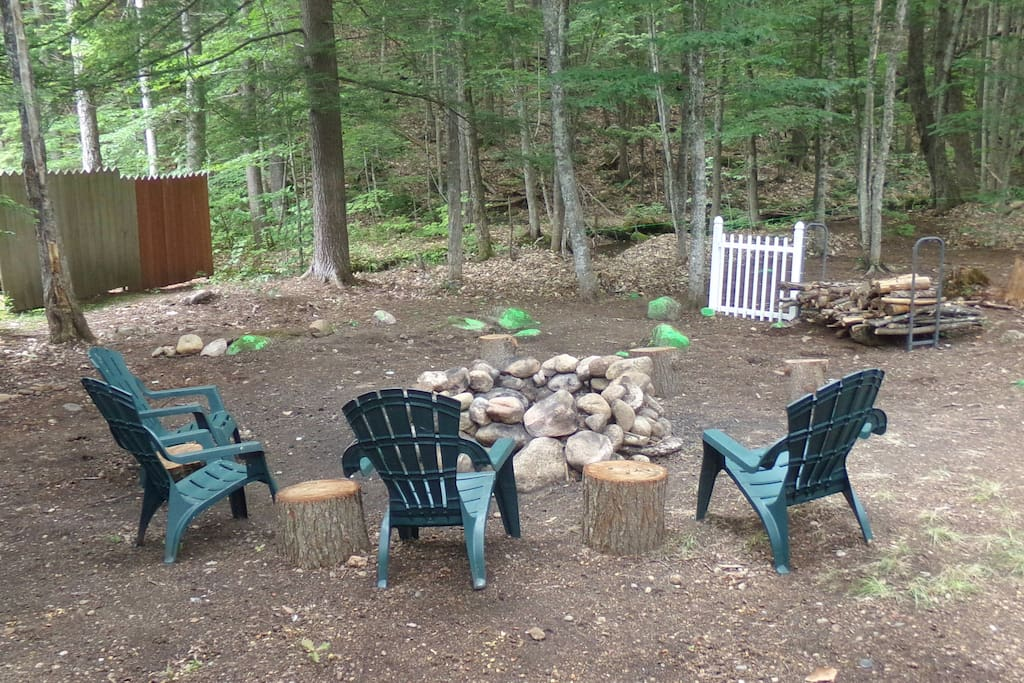 Fire pit area in back yard