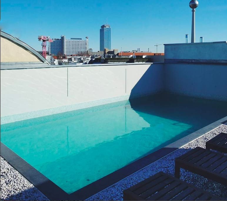 Shared rooftop with swimming pool & sunbeds