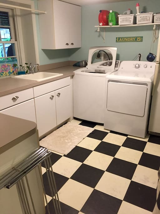 Laundry room/Kitchenette - Full size W/D, sink, refrigerator, toaster oven.