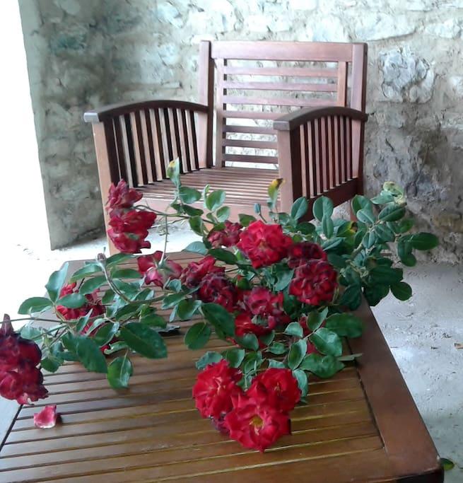 Il portico con le potature delle rose