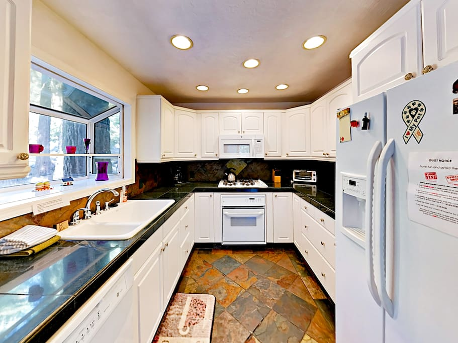 The updated kitchen can accommodate whatever meal you have in mind, from morning pancakes to Thanksgiving dinner.