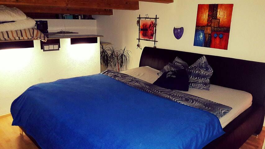 Komfortables Zimmer mit Zugang zur Dachterrasse