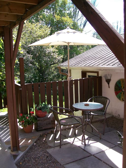 Private patio and separate entrance - garden and trees