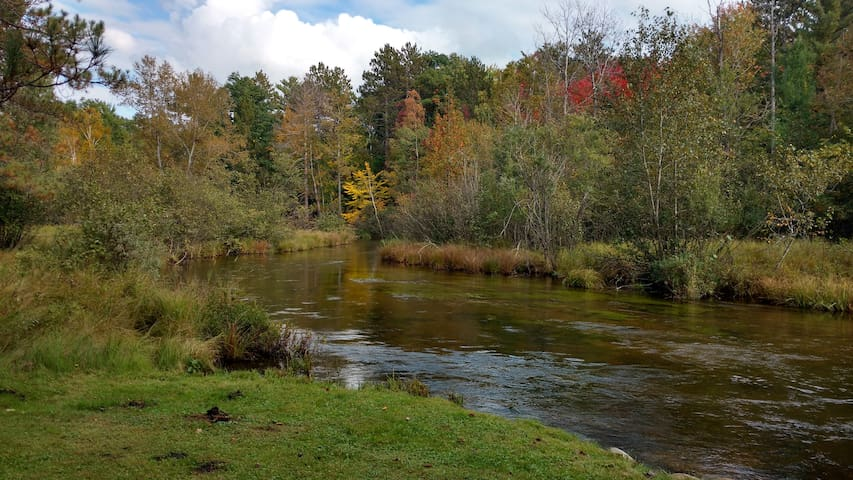 view of AuSable River from patio