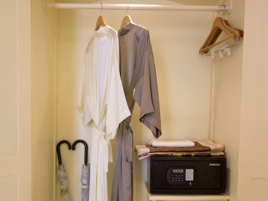 Safety box, umbrella, piyama, slipper, hanger