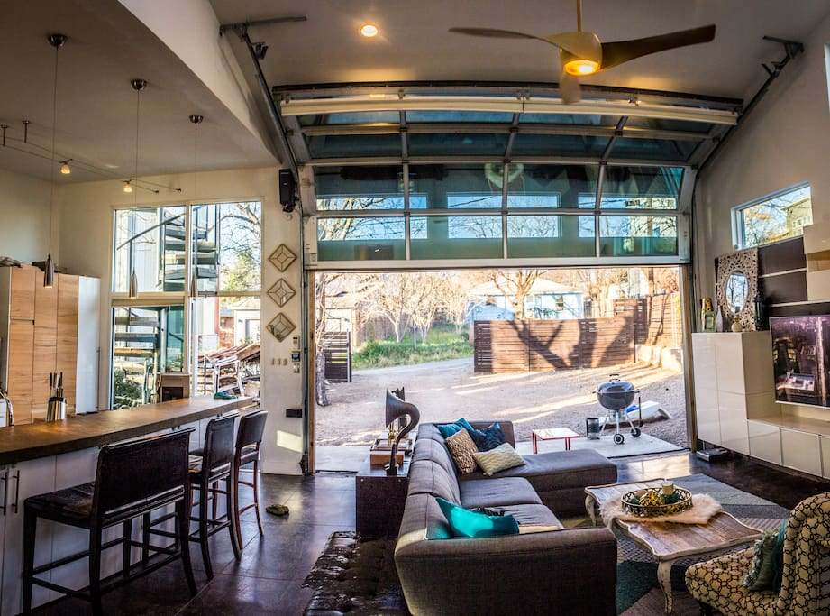High ceilings, and yes, the garage door does close!