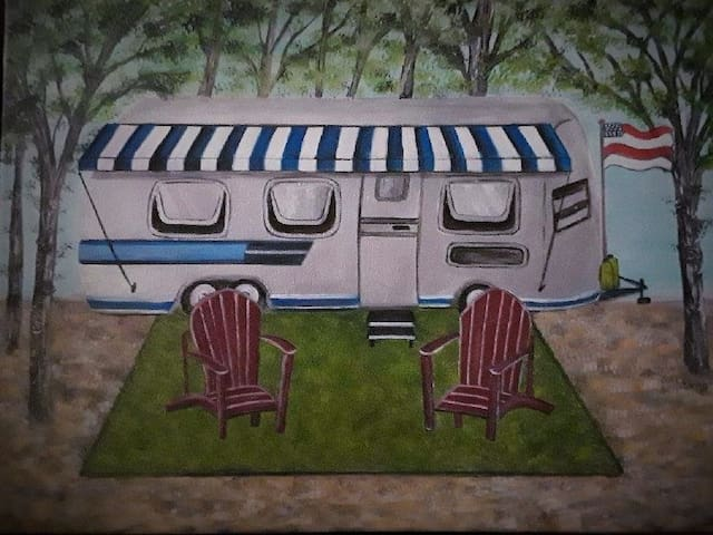 """Check out our 2nd Airstream on property to book with other family and friends. Airstream """"Ellie""""..."""